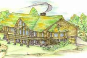 Log Exterior - Front Elevation Plan #117-105