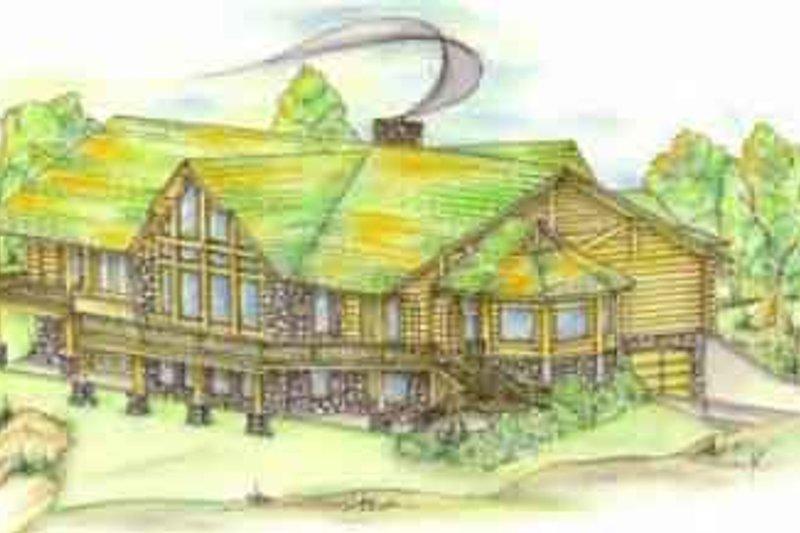 Log Exterior - Front Elevation Plan #117-105