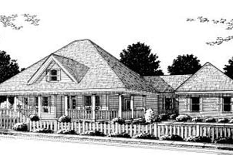 Country Style House Plan - 3 Beds 2 Baths 2184 Sq/Ft Plan #20-182 Exterior - Front Elevation