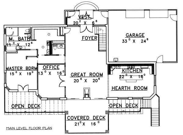 Southern Floor Plan - Main Floor Plan Plan #117-565