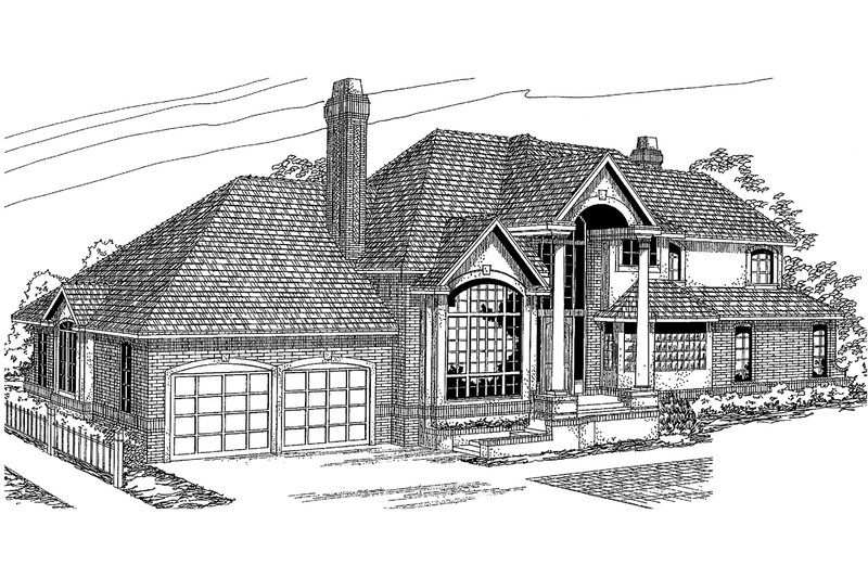 European Exterior - Front Elevation Plan #124-349