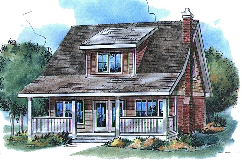 Country Style House Plan - 3 Beds 2 Baths 1152 Sq/Ft Plan #18-2001 Exterior - Front Elevation