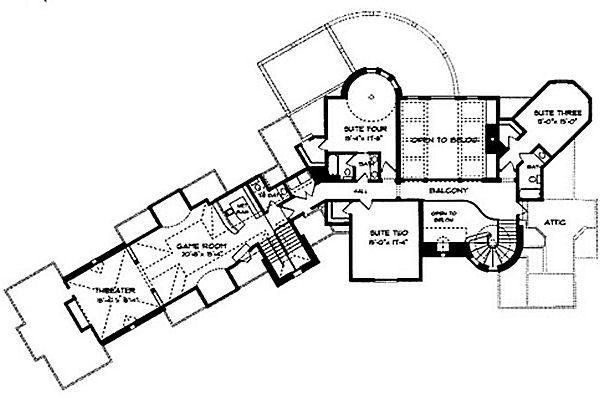 European Floor Plan - Upper Floor Plan Plan #413-126
