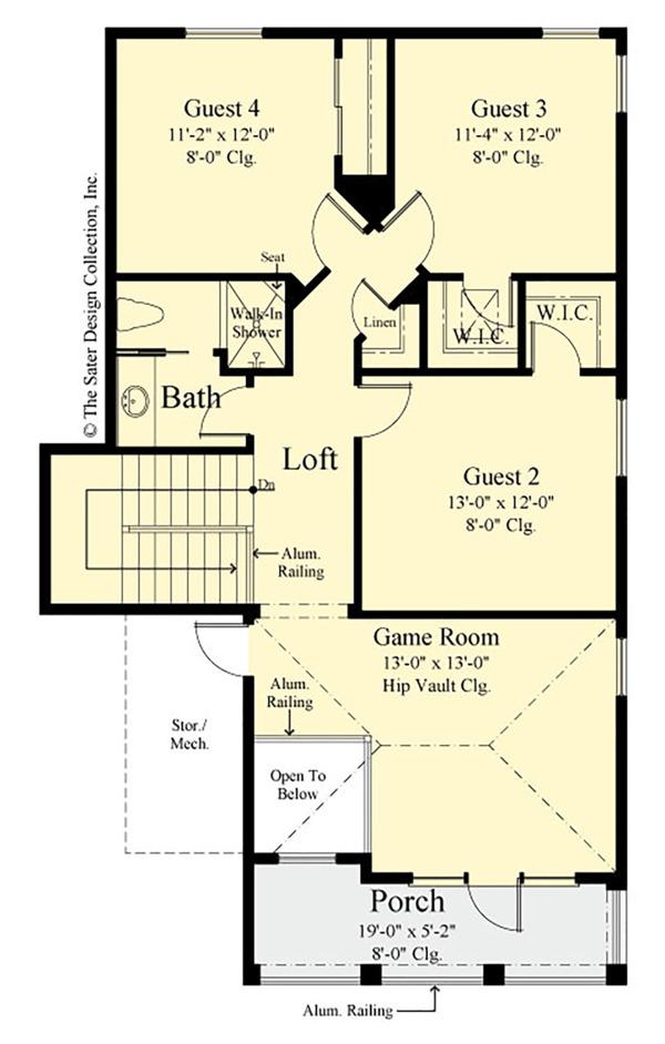 Southern Floor Plan - Upper Floor Plan Plan #930-496