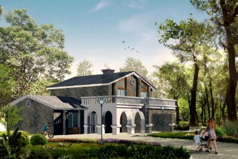 Adobe / Southwestern Style House Plan - 4 Beds 2.5 Baths 2049 Sq/Ft Plan #1-446 Exterior - Front Elevation