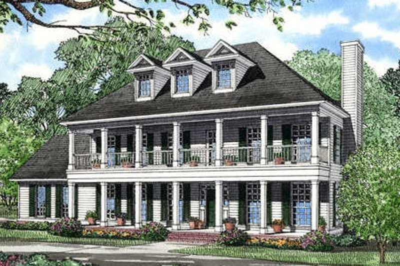 Southern Style House Plan - 3 Beds 2.5 Baths 2268 Sq/Ft Plan #17-258 Exterior - Front Elevation