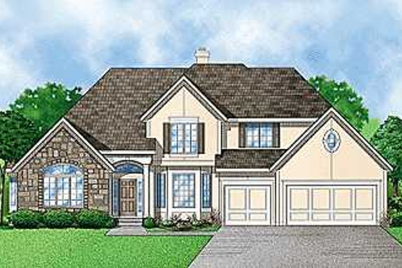 Traditional Style House Plan - 4 Beds 3 Baths 3293 Sq/Ft Plan #67-102 Exterior - Front Elevation