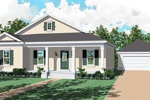 Southern Exterior - Front Elevation Plan #81-221