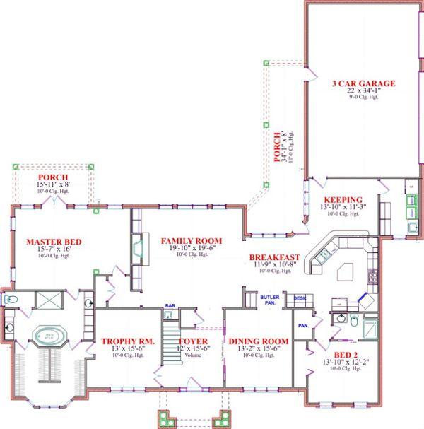 Classical Floor Plan - Main Floor Plan Plan #63-319