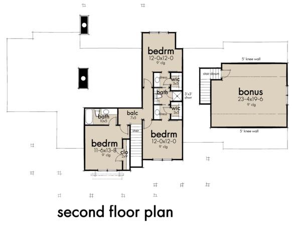 Farmhouse Floor Plan - Upper Floor Plan #120-266