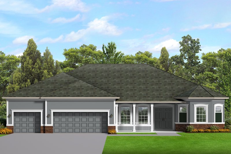 Ranch Style House Plan - 3 Beds 2.5 Baths 2477 Sq/Ft Plan #1058-198 Exterior - Front Elevation
