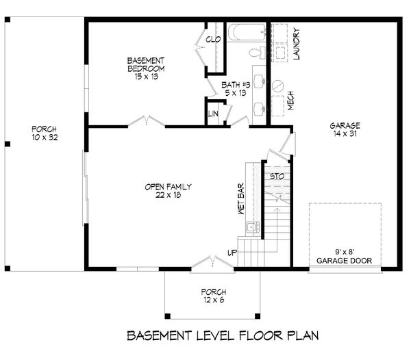 Country Floor Plan - Lower Floor Plan #932-334