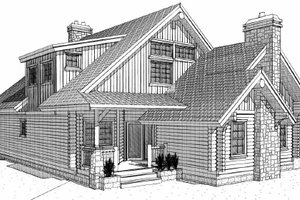 Log Exterior - Front Elevation Plan #451-8