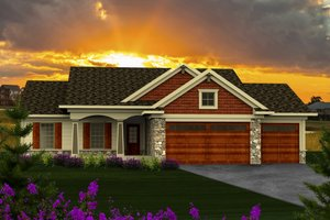 Architectural House Design - Craftsman Exterior - Front Elevation Plan #70-1159