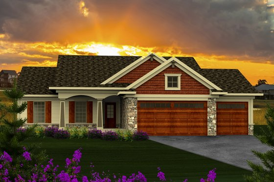 Craftsman Exterior - Front Elevation Plan #70-1159