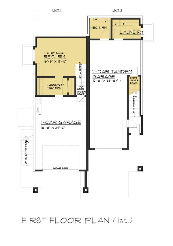 Contemporary Floor Plan - Lower Floor Plan Plan #1066-71