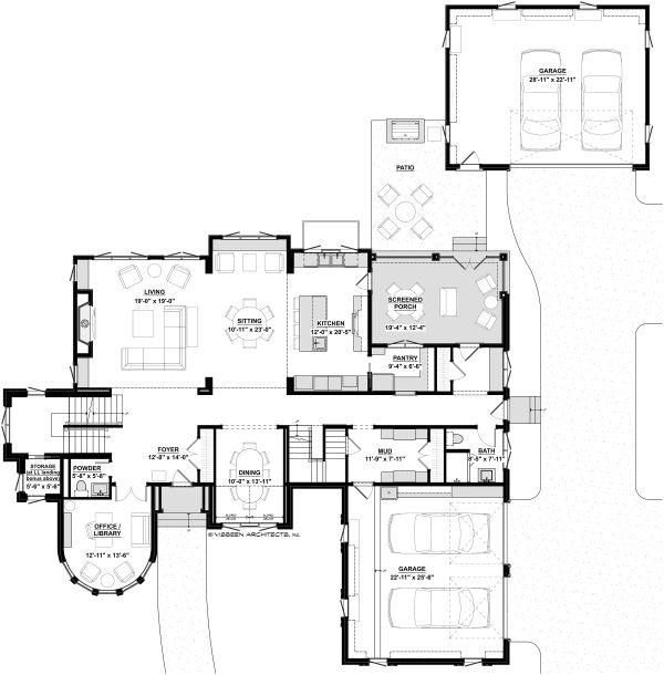 Dream House Plan - Traditional Floor Plan - Main Floor Plan #928-331