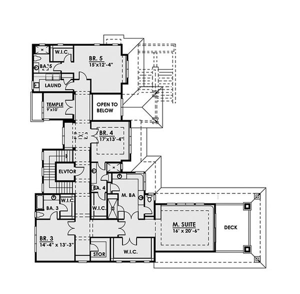 Contemporary Floor Plan - Upper Floor Plan Plan #1066-39