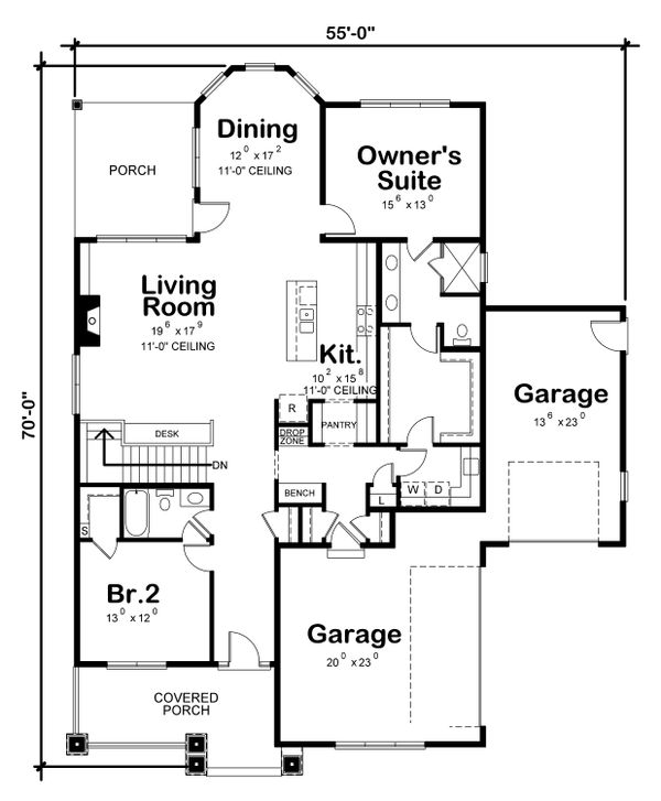 Architectural House Design - European Floor Plan - Main Floor Plan #20-2335