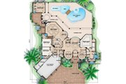 Mediterranean Style House Plan - 5 Beds 5 Baths 7760 Sq/Ft Plan #27-472 Floor Plan - Main Floor Plan