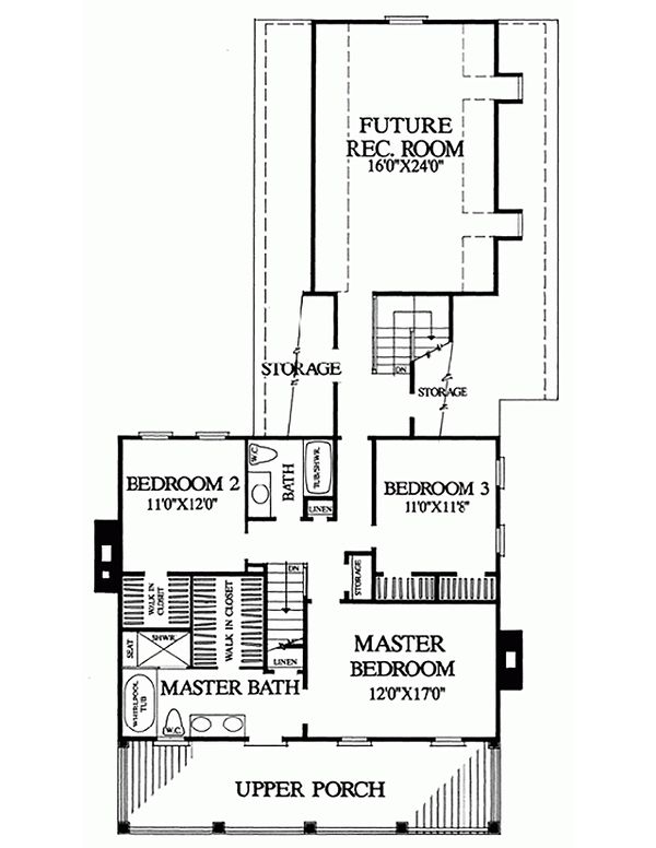 Colonial Floor Plan - Upper Floor Plan Plan #137-241