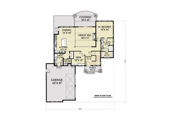 House Plan Design - Farmhouse Floor Plan - Main Floor Plan #1070-104