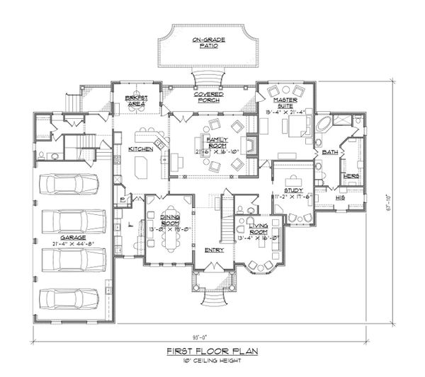 House Plan Design - Traditional Floor Plan - Main Floor Plan #1054-57