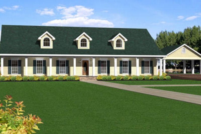 Country Exterior - Front Elevation Plan #44-156 - Houseplans.com