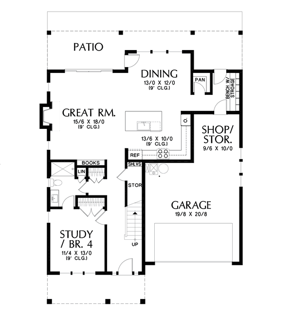 Dream House Plan - Contemporary Floor Plan - Main Floor Plan #48-1033