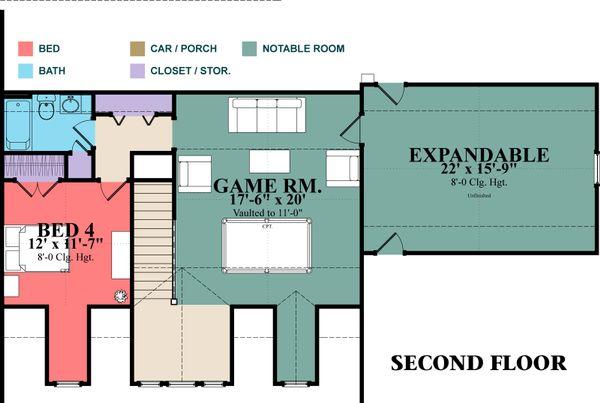 Country Floor Plan - Upper Floor Plan Plan #63-397