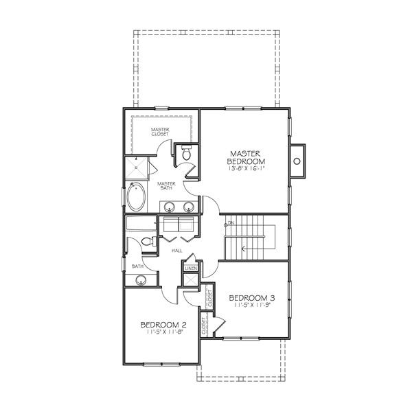 Traditional Floor Plan - Upper Floor Plan Plan #483-1