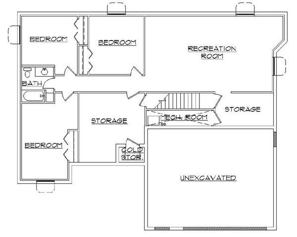House Plan Design - Ranch Floor Plan - Lower Floor Plan #5-235