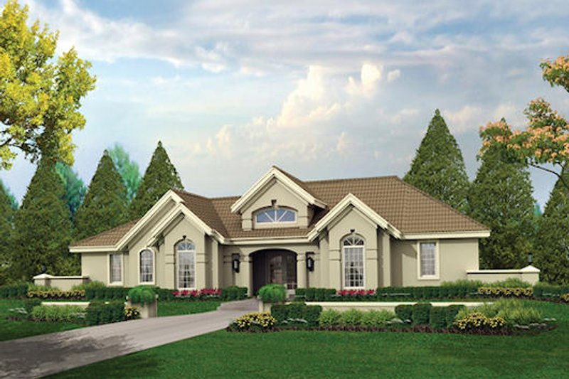 Mediterranean Style House Plan - 3 Beds 2.5 Baths 1948 Sq/Ft Plan #57-371 Exterior - Front Elevation
