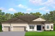 Ranch Style House Plan - 3 Beds 2.5 Baths 2477 Sq/Ft Plan #1058-197 Exterior - Front Elevation