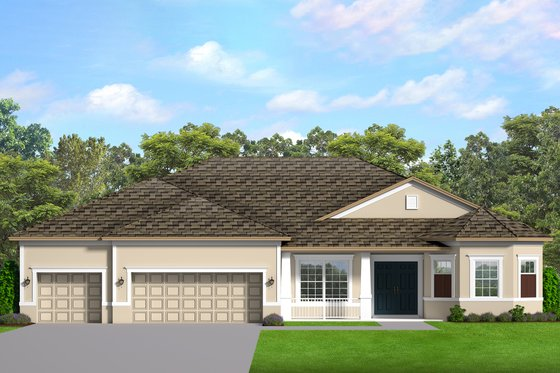 Ranch Exterior - Front Elevation Plan #1058-197