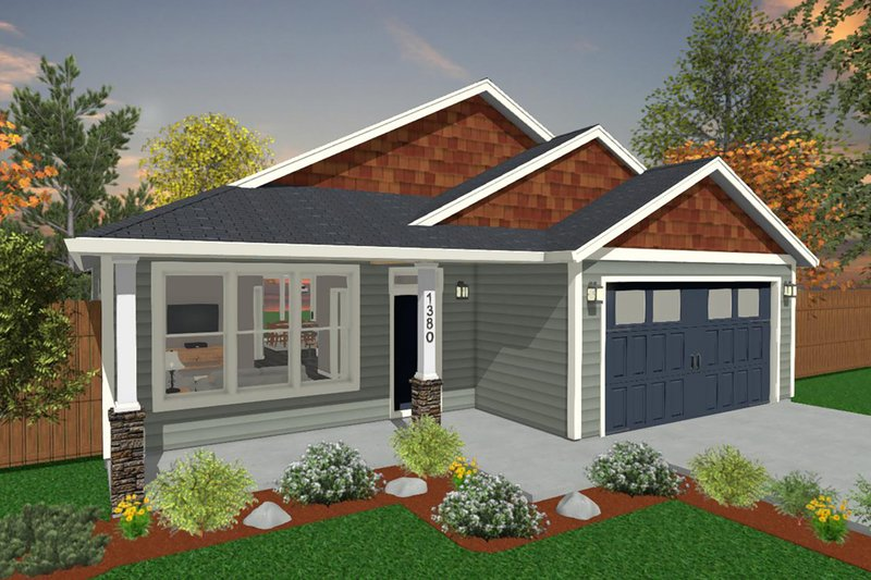 Ranch Style House Plan - 3 Beds 2 Baths 1380 Sq/Ft Plan #943-51 Exterior - Front Elevation