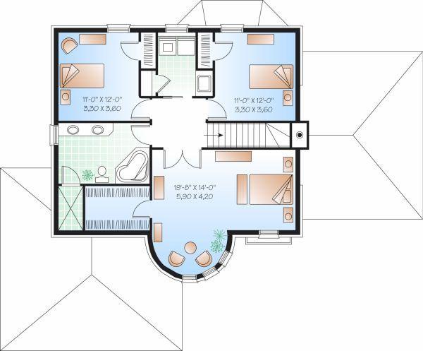 European Floor Plan - Upper Floor Plan Plan #23-806