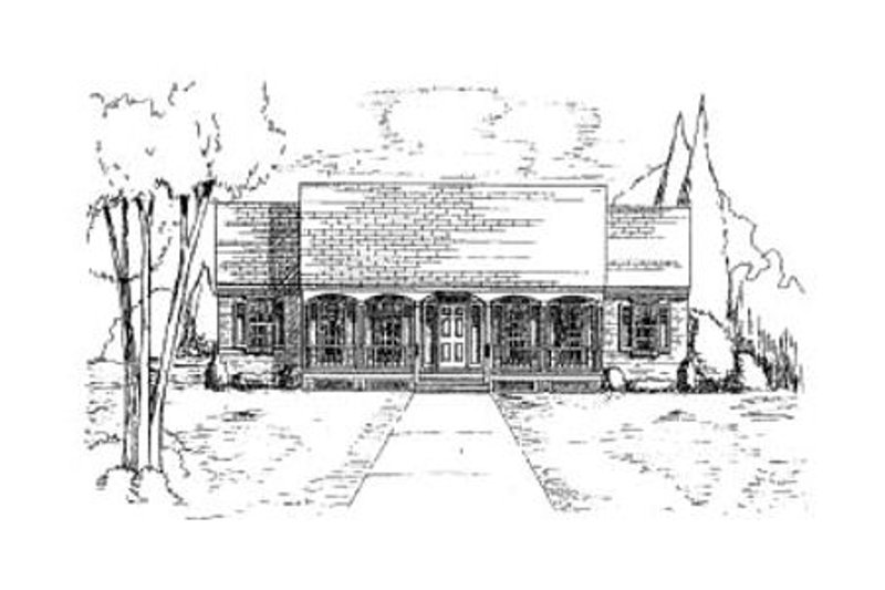 Country Style House Plan - 3 Beds 2 Baths 1850 Sq/Ft Plan #37-156 Exterior - Front Elevation