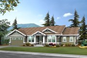 Craftsman Style House Plan - 2 Beds 2 Baths 1725 Sq/Ft Plan #132-101 Exterior - Front Elevation