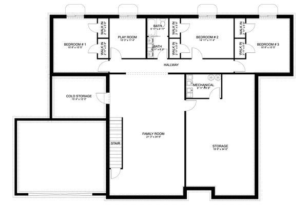 House Plan Design - Craftsman Floor Plan - Lower Floor Plan #1060-70