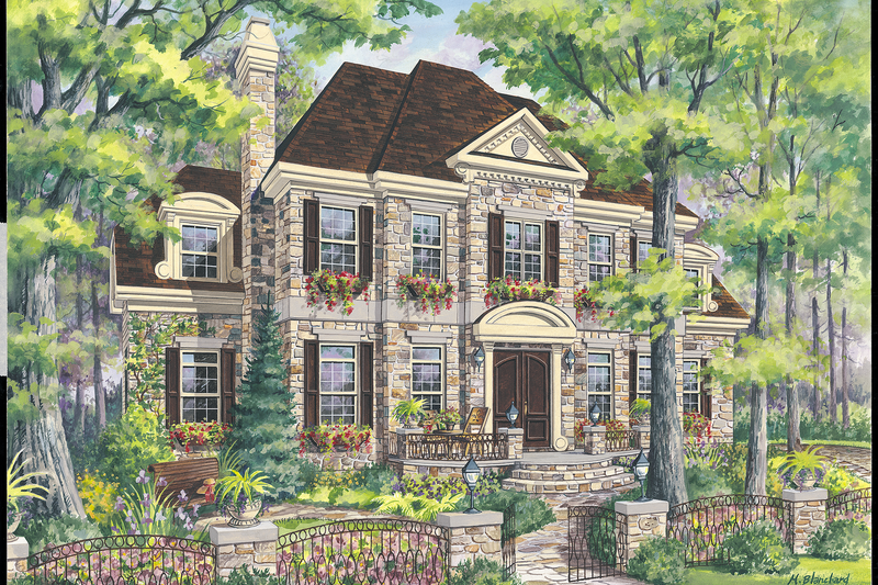 European Style House Plan - 4 Beds 3 Baths 3599 Sq/Ft Plan #25-4790 Exterior - Front Elevation