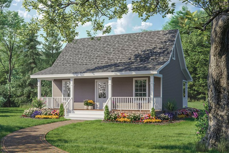Country Style House Plan - 1 Beds 1 Baths 600 Sq/Ft Plan #21-206