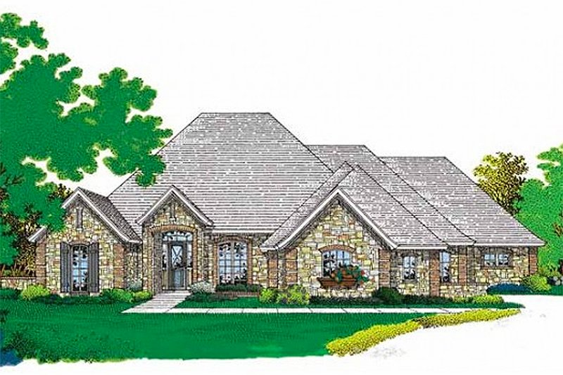 European Style House Plan - 4 Beds 3.5 Baths 2748 Sq/Ft Plan #310-209 Exterior - Front Elevation