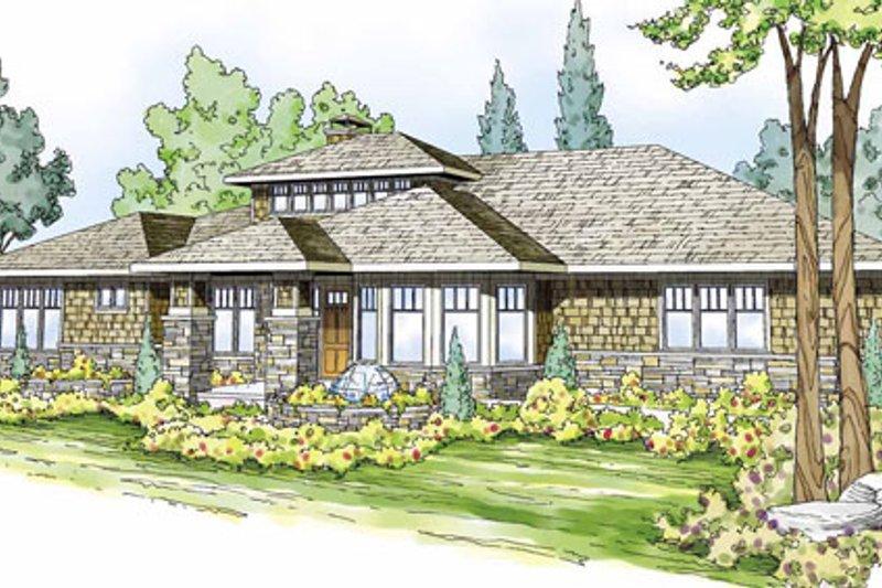 Prairie Exterior - Front Elevation Plan #124-821