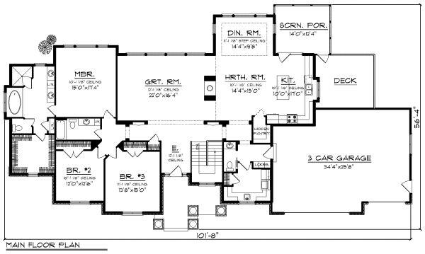 Ranch Style House Plan - 3 Beds 2.5 Baths 2687 Sq/Ft Plan #70-1176 Floor Plan - Main Floor Plan