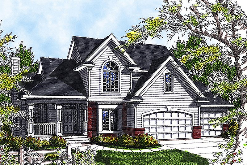 Traditional Style House Plan - 4 Beds 2.5 Baths 2193 Sq/Ft Plan #70-330 Exterior - Front Elevation