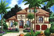 Mediterranean Style House Plan - 5 Beds 4.5 Baths 4198 Sq/Ft Plan #27-355 Exterior - Front Elevation