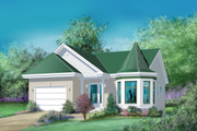 European Style House Plan - 2 Beds 1 Baths 1056 Sq/Ft Plan #25-1168 Exterior - Front Elevation
