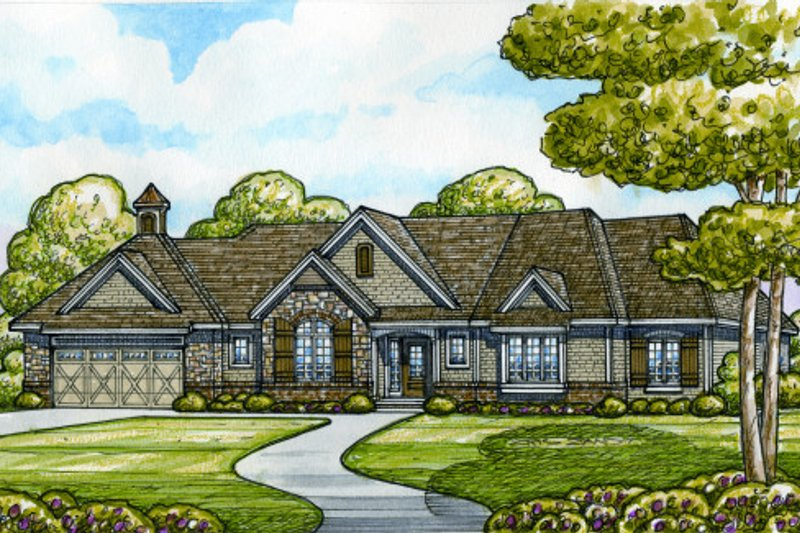 European Style House Plan - 3 Beds 2.5 Baths 2069 Sq/Ft Plan #20-2130 Exterior - Front Elevation