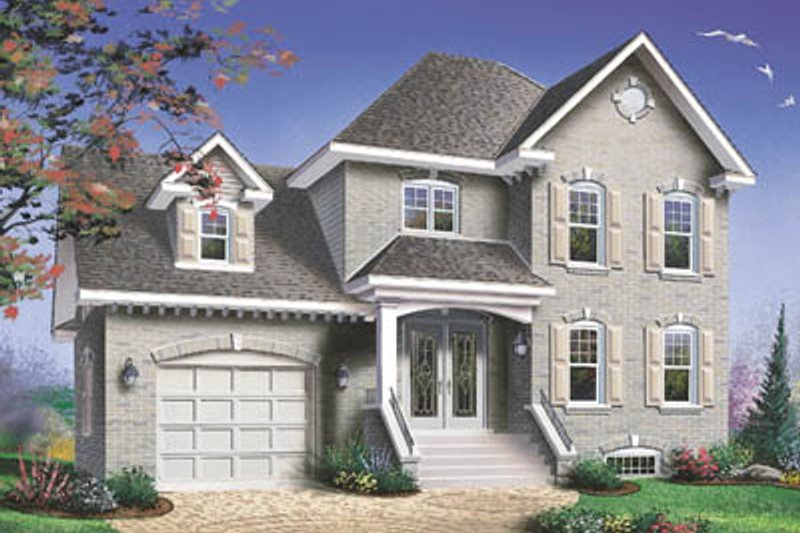 European Style House Plan - 3 Beds 2.5 Baths 1576 Sq/Ft Plan #23-2088 Exterior - Front Elevation